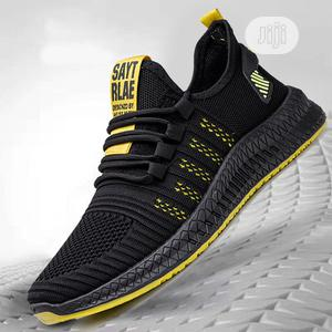 Men Sneakers Running Shoes-Black Yellow | Shoes for sale in Lagos State, Amuwo-Odofin
