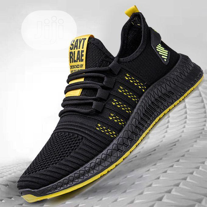 Men Sneakers Running Shoes-Black Yellow