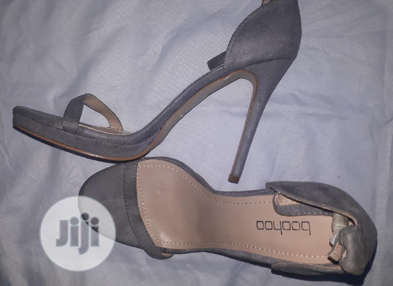 Archive: BOOHOO Gray Suede Platform Heeled Sandals