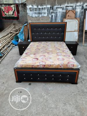 (6/4.5) Padded Chrome Bed Frame With Quality Flora Mattress   Furniture for sale in Lagos State, Ojo