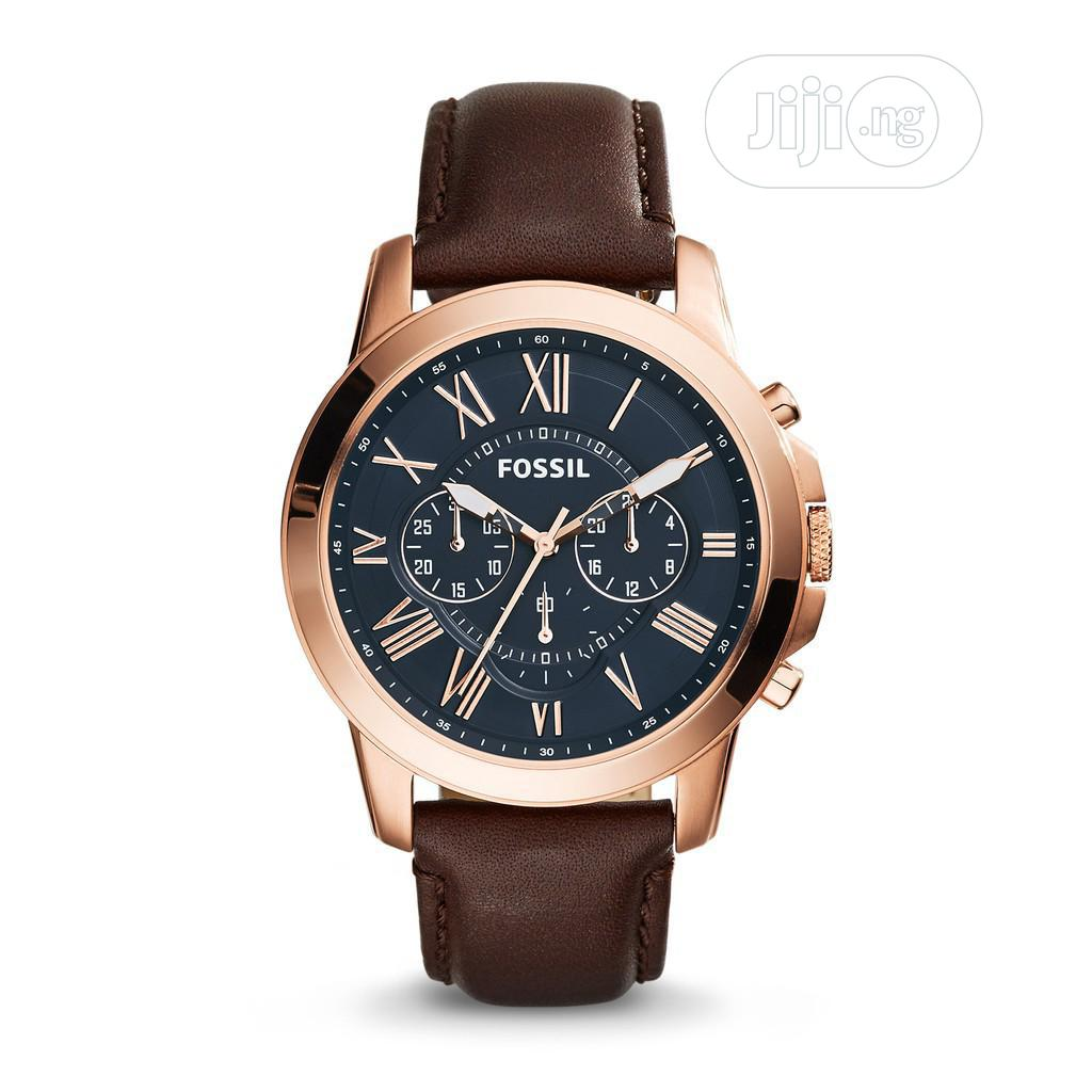 High Quality Fossil Black Dial Leather Watch Watch