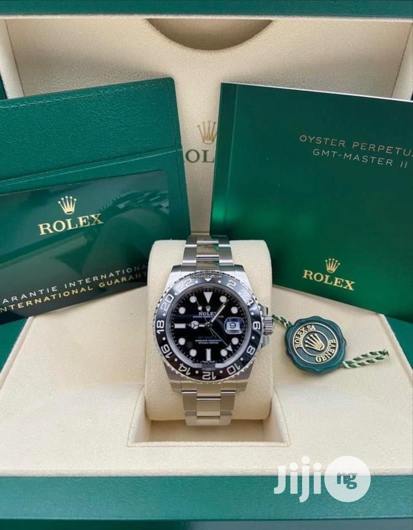 High Quality Rolex Silver Stainless Steel Black Dial Watch
