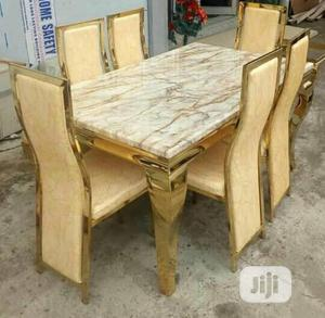 Marble Top Dinning Table + 6 Chairs (Gold)   Furniture for sale in Lagos State, Lekki