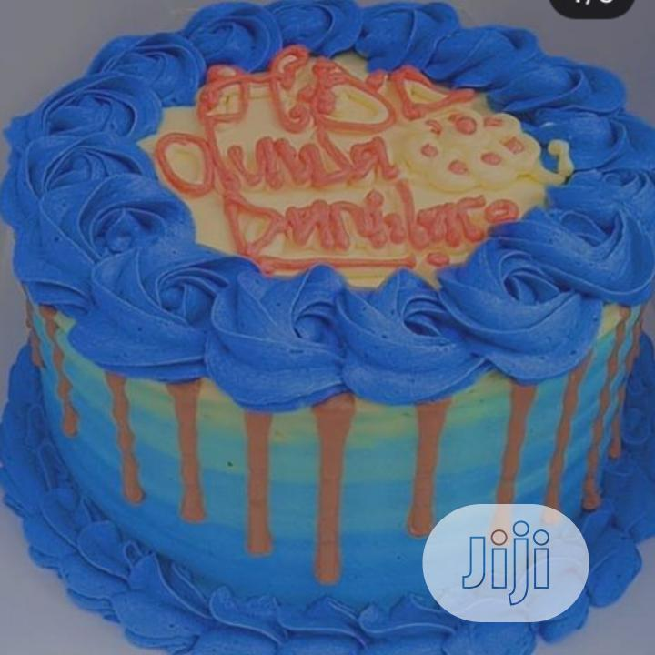 Nutritious 2 in 1 Blueish Drip Birthday Cake