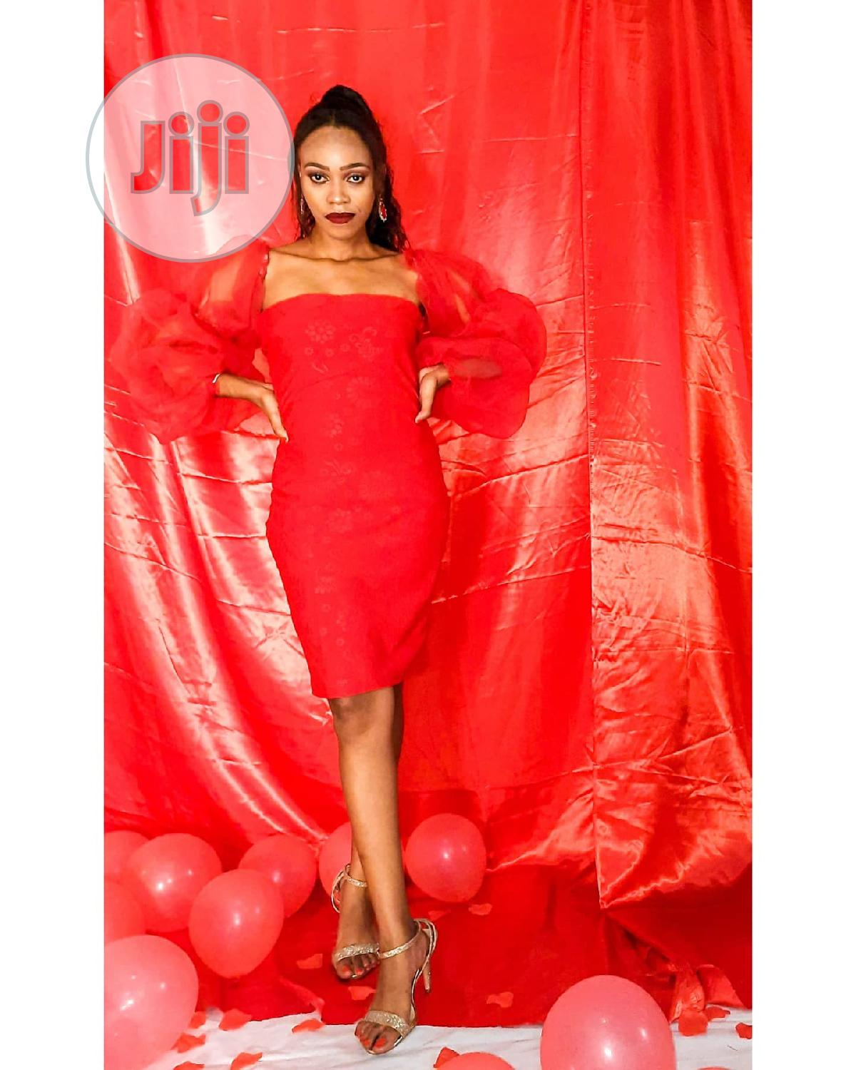 Little Red Dress With Detachable Puff Sleeve | Clothing for sale in Aba North, Abia State, Nigeria