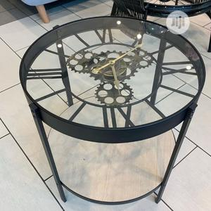 Clock Table Metal With Wooden Shelf | Furniture for sale in Lagos State, Lekki