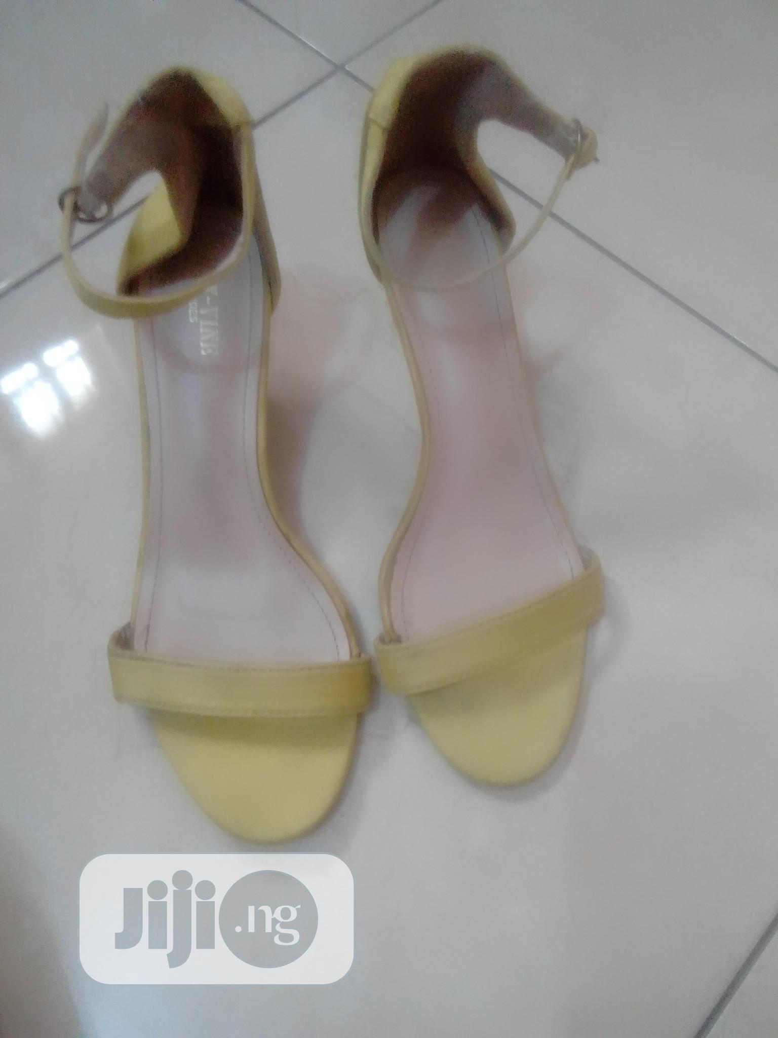 Archive: Lemon Yellow Suede Low Heeled Strap Sandal