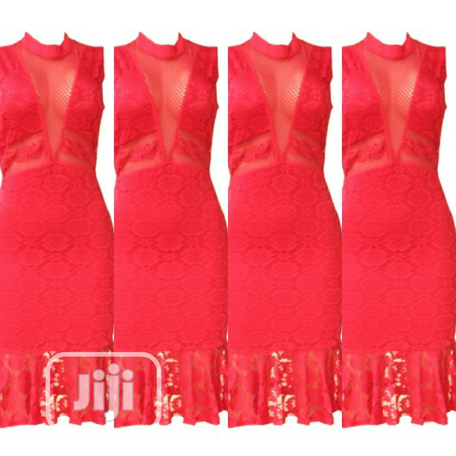 Ladies Lacy Red Dress