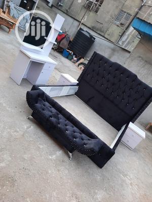 6by6 Velvet Black Upholstery Bed Complete Set | Furniture for sale in Lagos State, Lekki