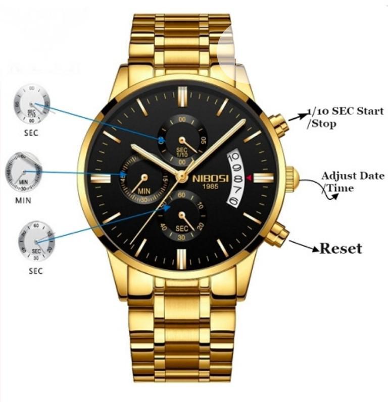 Quartz Men Wristwatch - Gold | Watches for sale in Nnewi, Anambra State, Nigeria