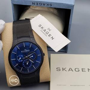 Skagen Blue Dial Black Mesh Strap Watch   Watches for sale in Lagos State, Ikoyi