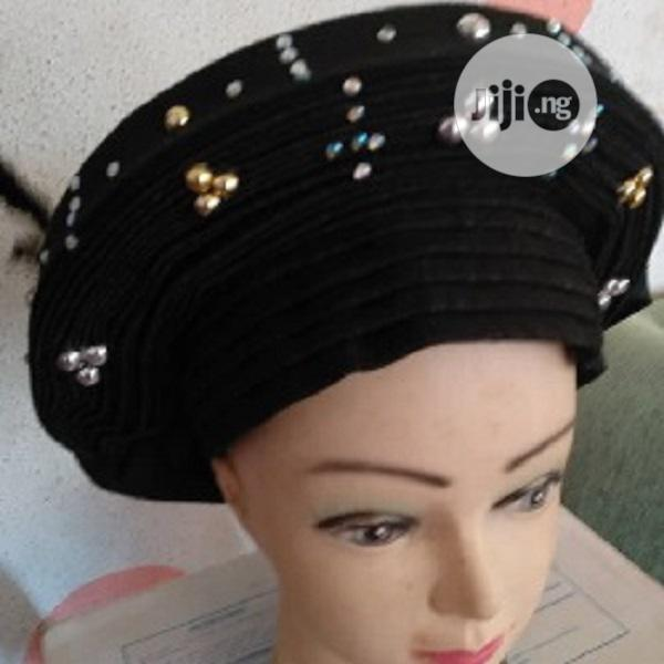 Black Colour Auto Gele With Aso Oke | Clothing for sale in Ikeja, Lagos State, Nigeria