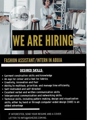 Fashion Design Assistant (Fashion Intern) wanted | Internship Jobs for sale in Abuja (FCT) State, Lokogoma