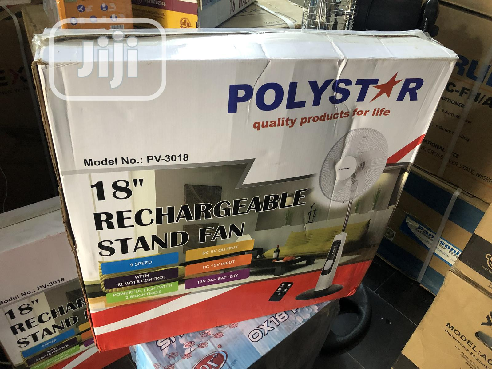 Poly Star 18inchs Rechargeable Standing Fan   Home Appliances for sale in Ikeja, Lagos State, Nigeria