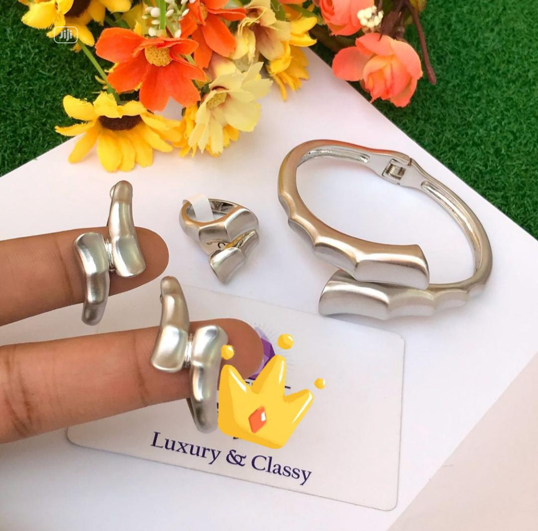 Classy Silver Earring, Ring and Bangle Set