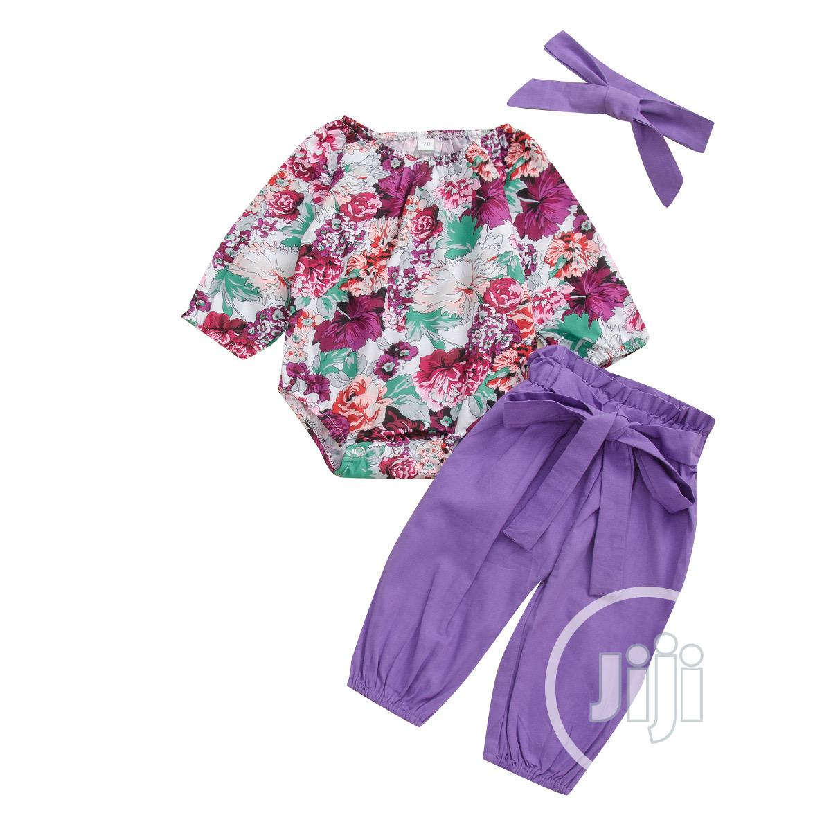Floral Top + Plain Trouser and Headband   Children's Clothing for sale in Lekki, Lagos State, Nigeria