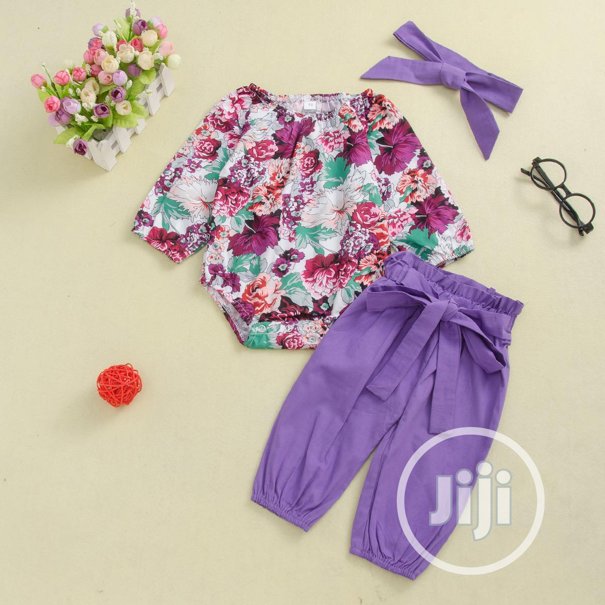 Floral Top + Plain Trouser and Headband