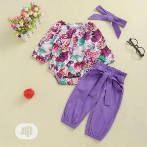 Floral Top + Plain Trouser and Headband   Children's Clothing for sale in Lagos State, Lekki