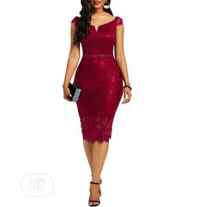 V-Neck Back Zipper Lace Women Clothing/Bodycon Evening Dress   Clothing for sale in Lagos State, Lekki