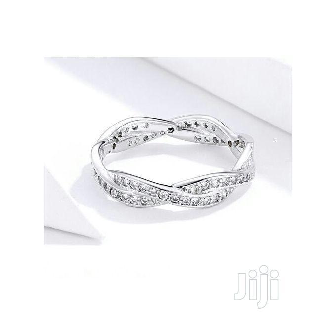 Archive: Classy Silver Braided Diamond Women Wedding Ring