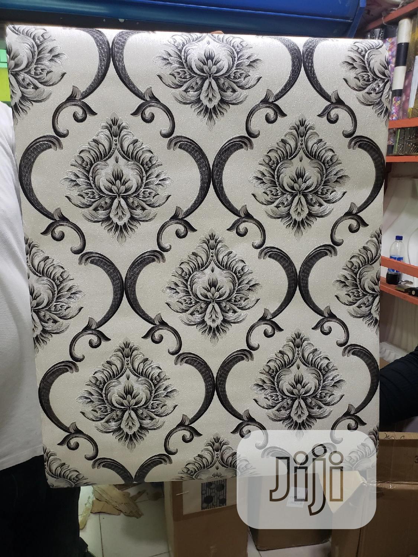 White and Black Damask Wallpaper