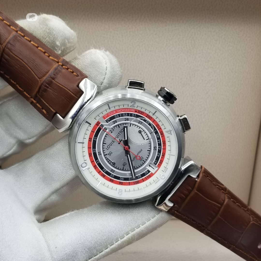 Louis Vuitton (LV) Chronograph Silver Leather Strap Watch