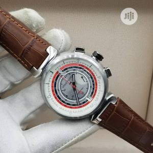 Louis Vuitton (LV) Chronograph Silver Leather Strap Watch   Watches for sale in Lagos State, Lagos Island (Eko)