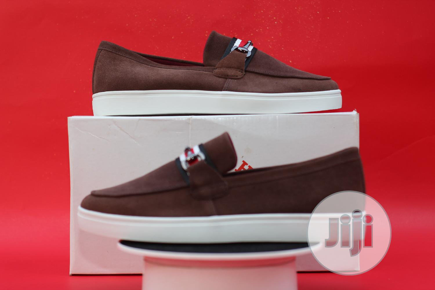 Coffee Brown Leather Suede Loafers