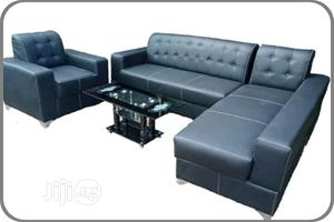 L- Shaped Leather Sofa With a Single and Center Table | Furniture for sale in Lagos State, Agege