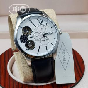 High Quality Fossil White Dial Leather Watch for Men   Watches for sale in Lagos State, Magodo