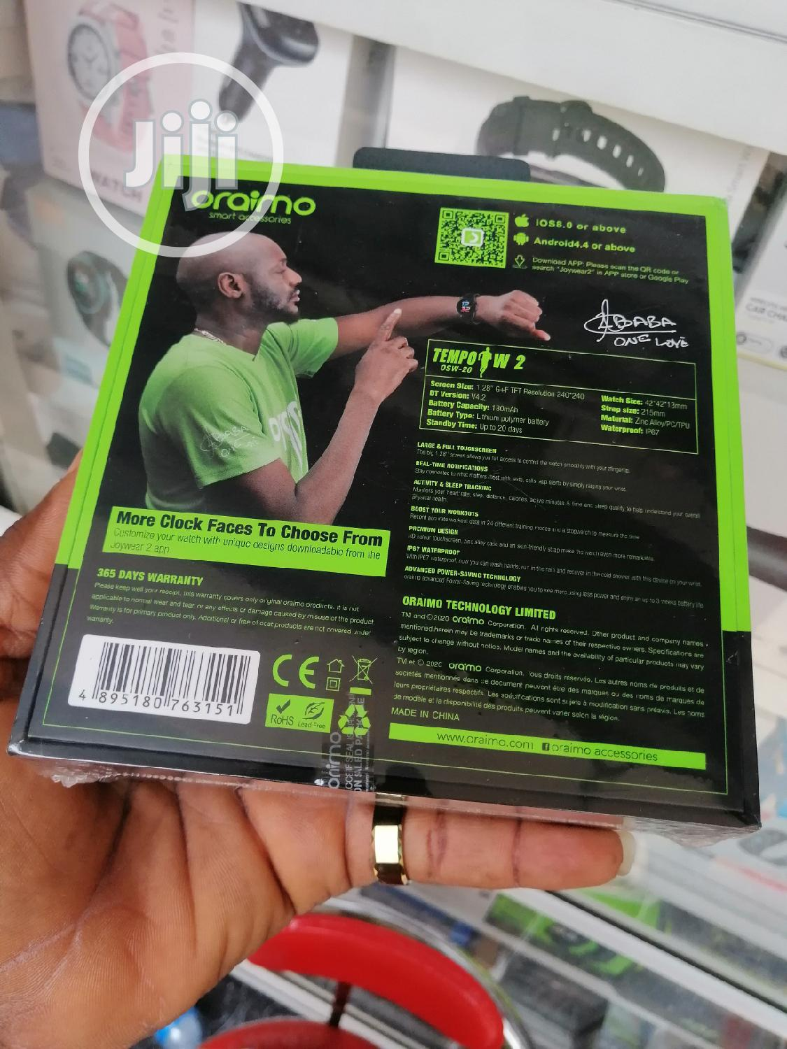 Oraimo Smart Watch Tempo W2 Osw-20 | Smart Watches & Trackers for sale in Ikeja, Lagos State, Nigeria