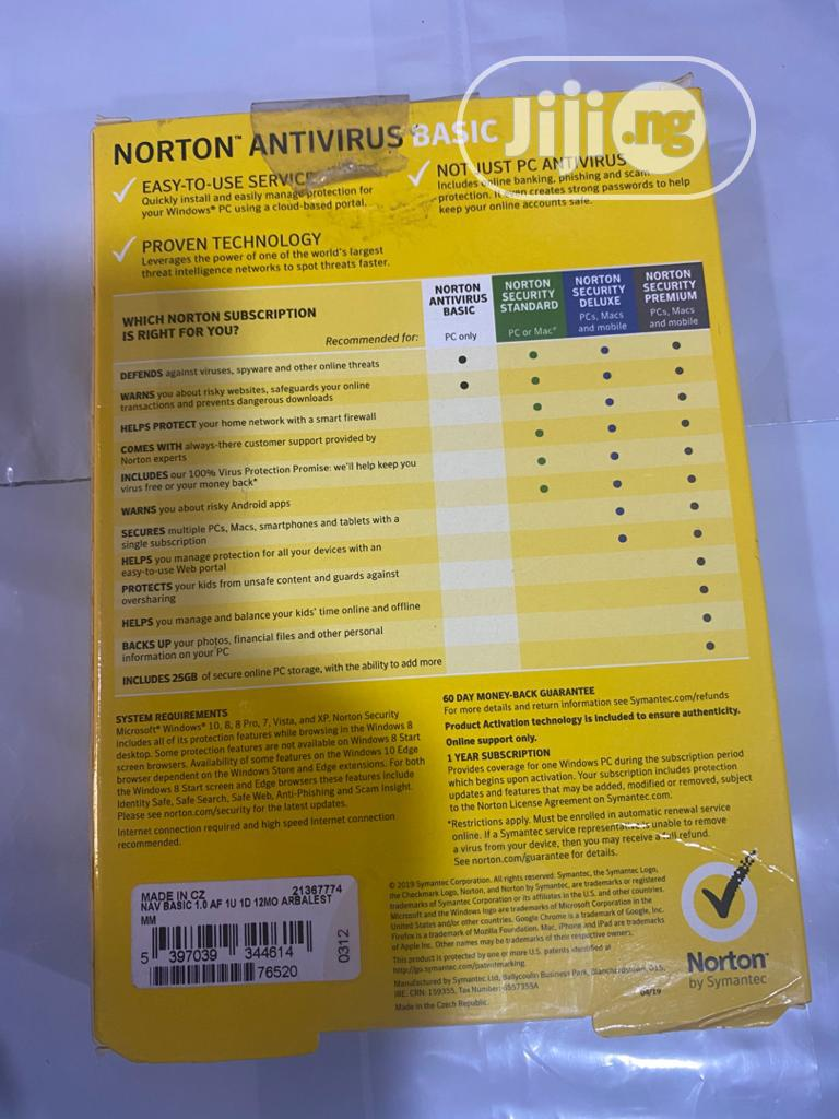 Norton 1 User Anti Virus | Software for sale in Ikeja, Lagos State, Nigeria