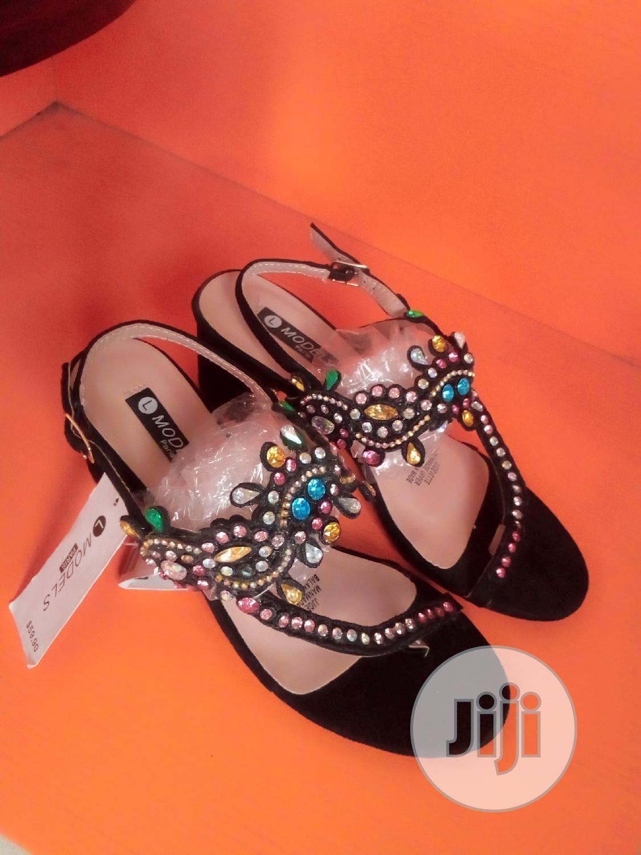 Black Female Low Block Heels Sandal