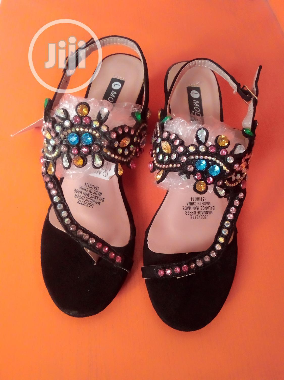 Black Female Low Block Heels Sandal | Shoes for sale in Alimosho, Lagos State, Nigeria