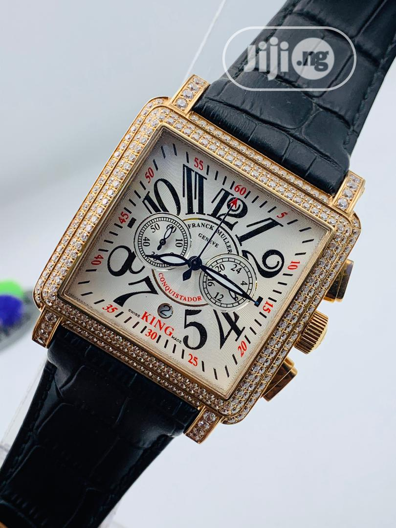 Franck Muller Full Ice Rose Gold Leather Strap Watch