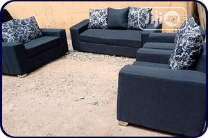 7 Seater Black Leather Sofa | Furniture for sale in Lagos State, Ikeja
