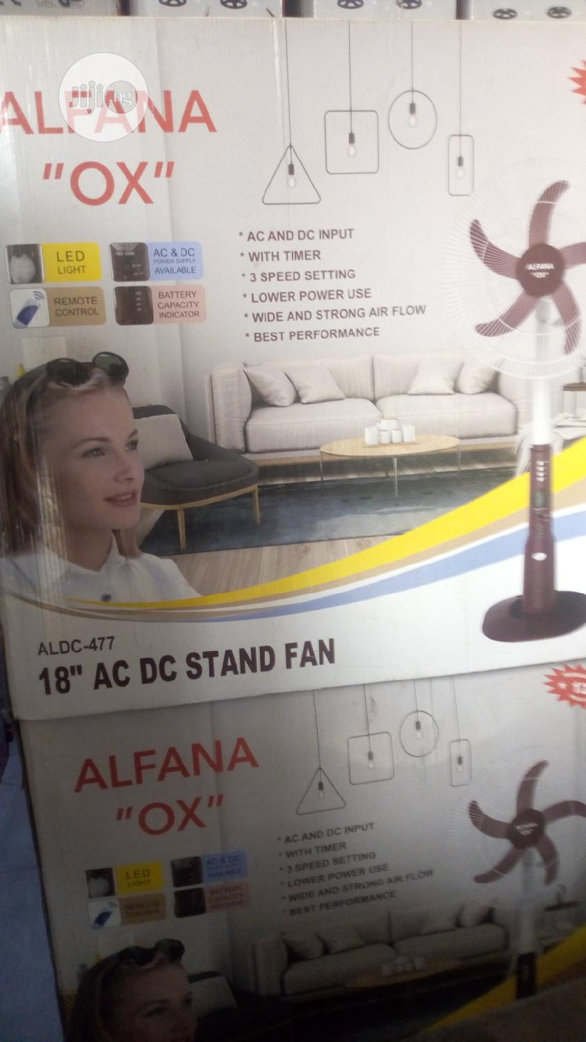 Alfana OX 18 Inches AC DC Rechargeable Standing Fan | Solar Energy for sale in Ojo, Lagos State, Nigeria