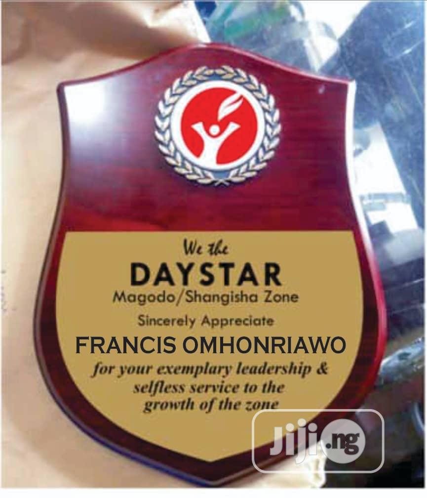 Golden Award Plaque and Medalon