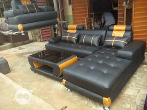 L Shape Leather With Glass Center Table. | Furniture for sale in Lagos State, Maryland
