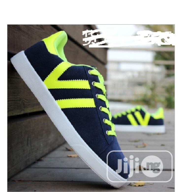 Classic Men Lace Up Seude Sneakers Shoes-Blue