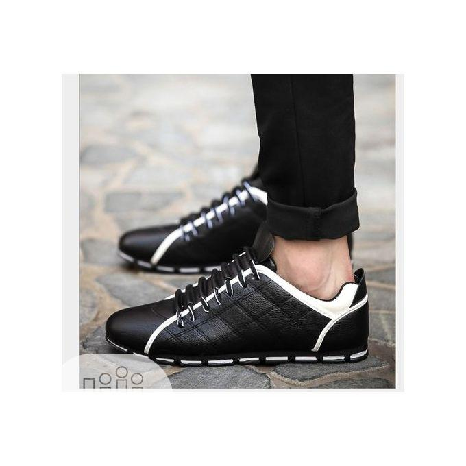 Men Casual Outdoor Leather Sneakers Shoes -Black and White | Shoes for sale in Amuwo-Odofin, Lagos State, Nigeria