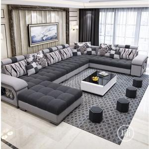 U- Shaped Sofa With Center Table With 4 Puff Stools   Furniture for sale in Lagos State, Ikeja