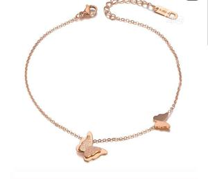 Rose Gold Stainless Steel Butterfly Chain Bracelet | Jewelry for sale in Lagos State, Surulere