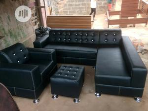 L Shape Leather With Extra Single and Ottoman Center Table. | Furniture for sale in Lagos State, Maryland