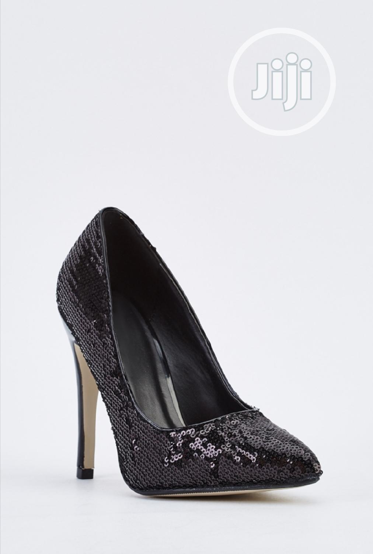Sequin Black Court Shoe Stilettos Heel, Shoes for Smallfeet