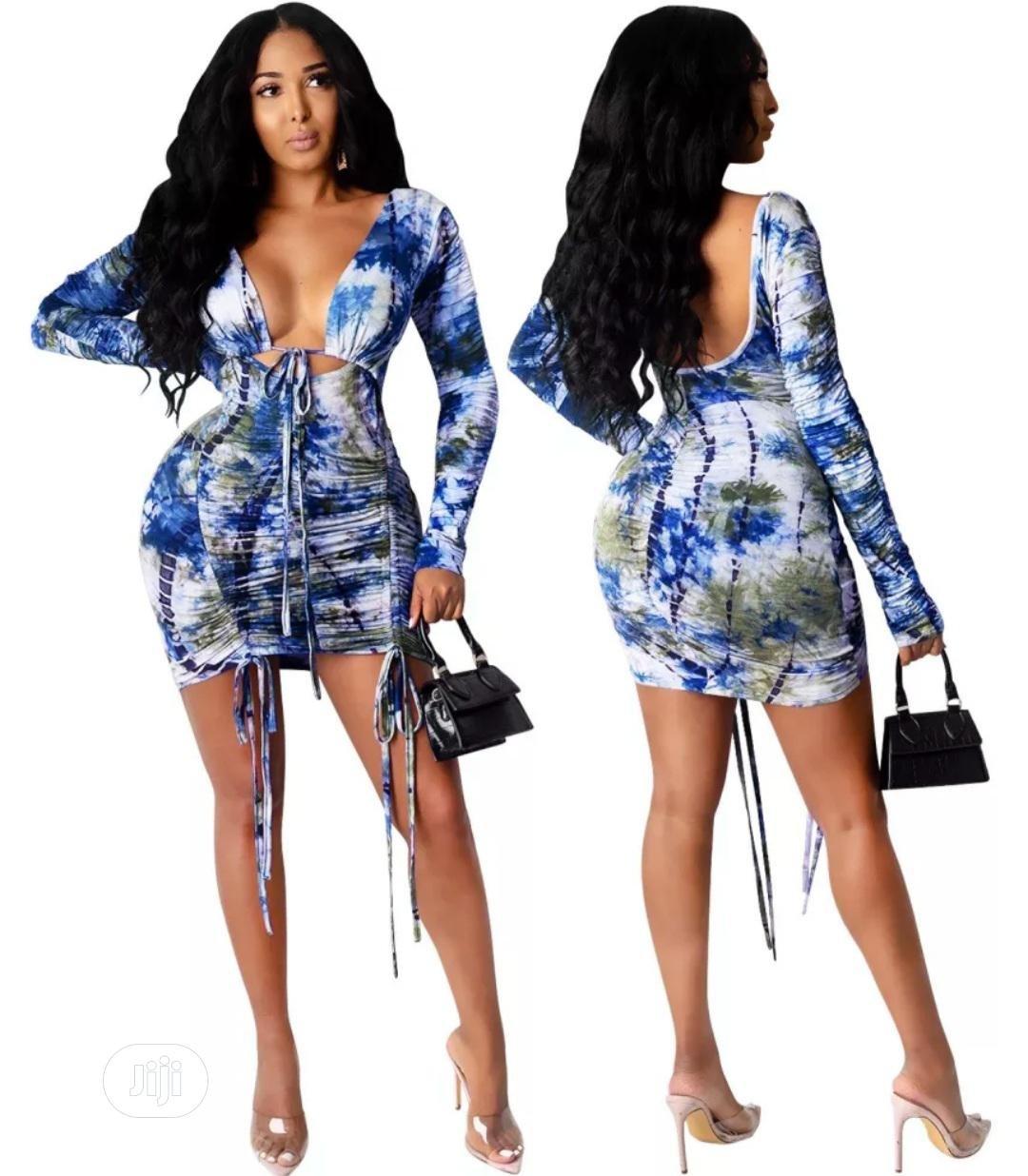 Autumn Party Tie Dye Sexy Low Back Ruched Mini Dress