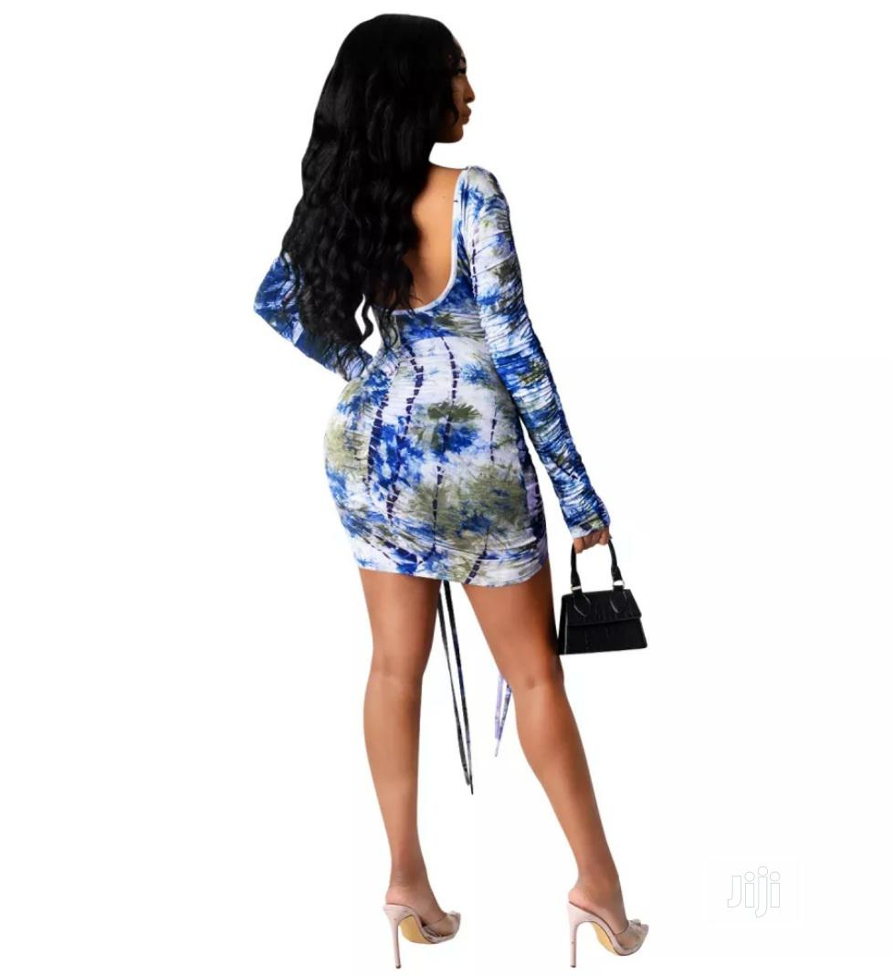 Autumn Party Tie Dye Sexy Low Back Ruched Mini Dress   Clothing for sale in Lekki, Lagos State, Nigeria