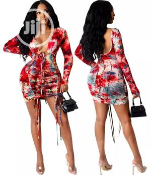 Autumn Party Tie Dye Sexy Low Back Ruched Mini Dress   Clothing for sale in Lagos State, Lekki