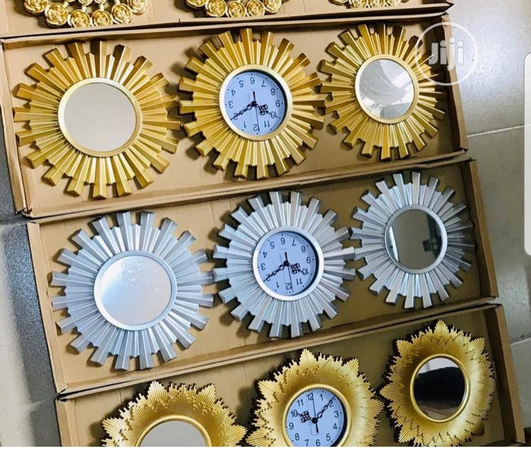 Decor Pieces - 3in1 Decorative Mirror With Center Clock | Home Accessories for sale in Ikeja, Lagos State, Nigeria