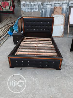 4×6 Upholstery Bed Frame With Side Drawer. | Furniture for sale in Lagos State, Ojo